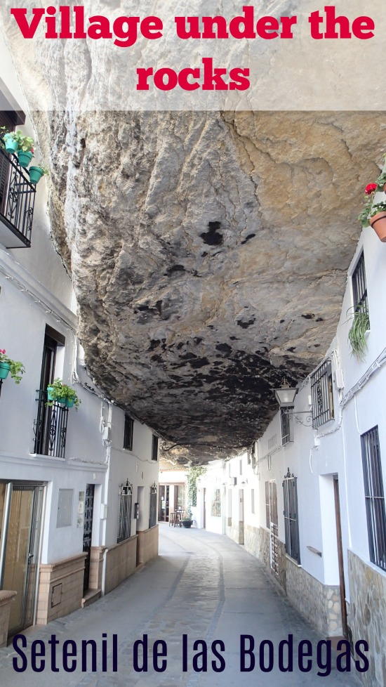 white washed villages of Andalucia. Setenil de la Bodegas and Arcos de la Frontera. Sightseeing in Andalucia Spain. Village under the rocks and tiny charming villages with narrow cobbled streets and squares.