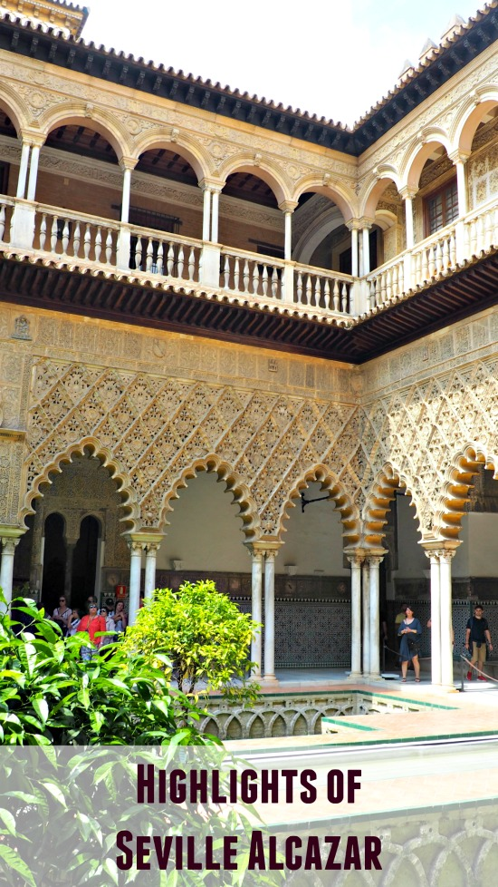 Highlights of the Royal Alcazar of Seville. Lots of great photos and brief descriptions of some of the best parts of the Seville Alcazar palace to visit. Honest article which also points out the areas which were disappointing. Opening time and ticket price info. #Europe #Spain #Alcazar #Seville #TravevlBlog #BucketList
